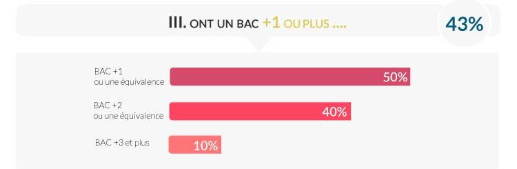 Pourcentage des étudiants avec un diplôme en IUT MMI, licence informatique, ou autre bac +2, bac+3 et plus à HETIC 2017