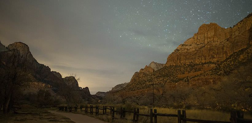 Zion Park by night
